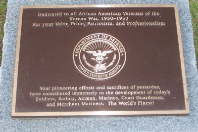 African American Veterans of the Korean War, 1950-1953 Marker image. Click for full size.
