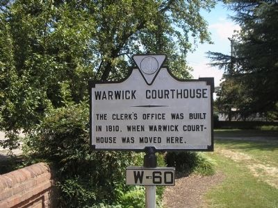 Warwick Courthouse Marker image. Click for full size.