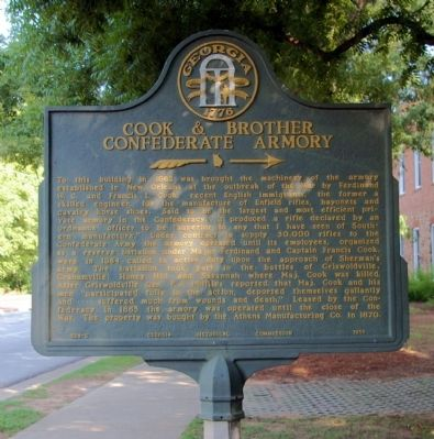 Cook & Brother Confederate Armory Marker image. Click for full size.