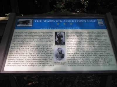 The Warwick-Yorktown Line Marker image. Click for full size.