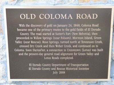 Old Coloma Road Marker image. Click for full size.