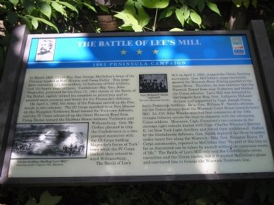The Battle of Lee's Mill Marker image. Click for full size.