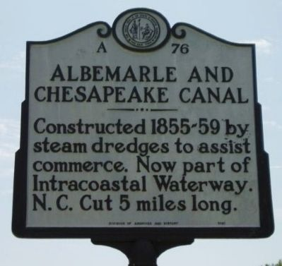 Albemarle and Chesapeake Canal Marker image. Click for full size.