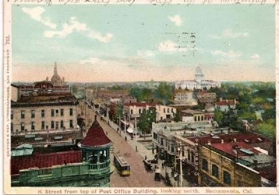 Vintage Postcard of 'K' St. with Capital in Background image. Click for full size.