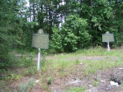 John Houstoun McIntosh Marker, shares location, at wagon entrance with Rice Hope Marker image. Click for full size.
