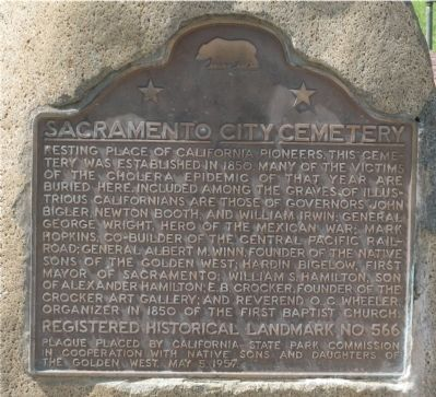 Sacramento City Cemetery Marker image. Click for full size.