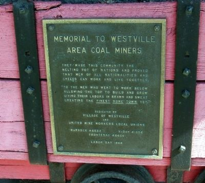 Memorial To Westville Area Coal Miners Marker image. Click for full size.