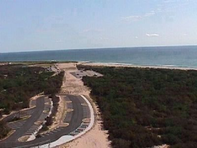 View from Cape Hatteras Lighthouse looking toward the ocean. image. Click for full size.
