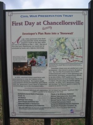 "First Day at Chancellorsville <br>Developer&#39;s Plan Runs into a ""Stonewall"" image. Click for full size."