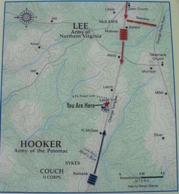First Day at Chancellorsville Map image. Click for full size.