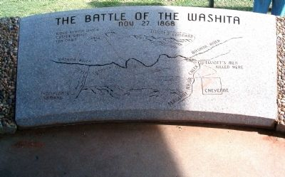 Washita Battlefield Site, plaque showing plan of battle image. Click for full size.