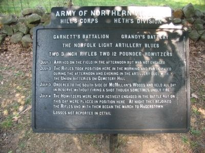 Garnett's Battalion - Grandy's Battery Tablet image. Click for full size.