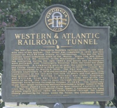 Western & Atlantic Railroad Tunnel Marker image. Click for full size.