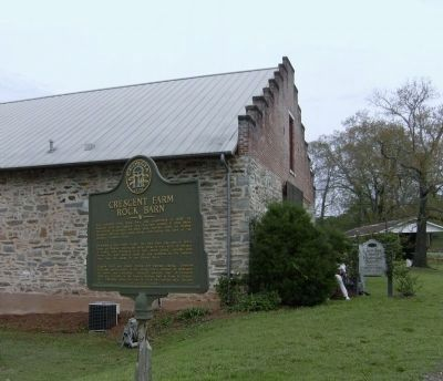 Crescent Farm Rock Barn and Marker image. Click for full size.