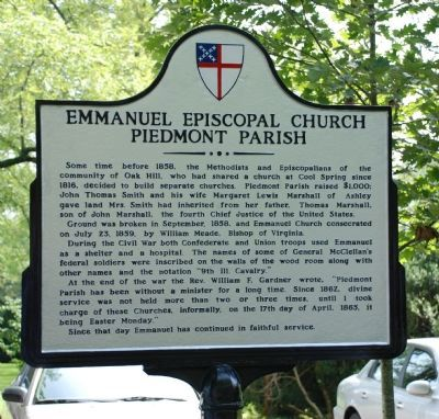 Emmanuel Episcopal Church Delaplane Virginia Marker image. Click for full size.
