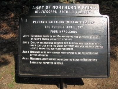Pegram's Battalion - McGraw's Battery Tablet image. Click for full size.