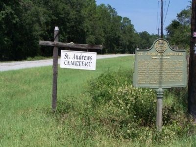 St. Andrew's Cemetery Marker, Looking North along Ga 99 image. Click for full size.