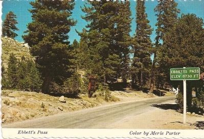Vintage Postcard - Ebbetts Pass Marker in Background and State Summit Sign image. Click for full size.