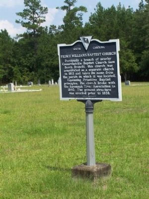Prince Williams Baptist Church Marker image. Click for full size.