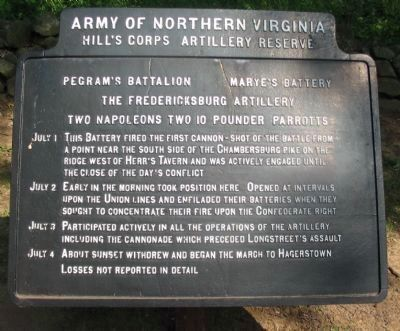 Pegram's Battalion - Marye's Battery Tablet image. Click for full size.