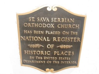 St. Sava Serbian Orthodox Church National Register of Historic Places Marker image. Click for full size.
