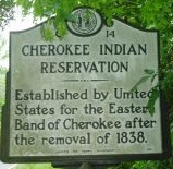 Cherokee Indian Reservation Marker