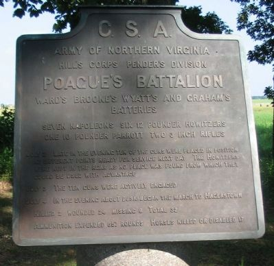 Poague's Battalion Tablet image. Click for full size.