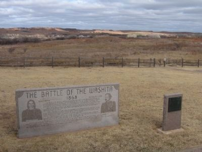 The Battle of the Washita Marker and Washita Battlefield National Historic Landmark Marker image. Click for full size.