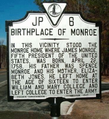 Birthplace of Monroe Marker image. Click for full size.