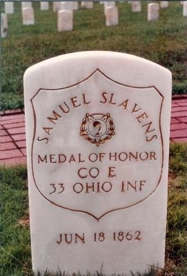 Sergeant Samuel Slavens Plot :Grave No. 11176, Medal of Honor image. Click for full size.