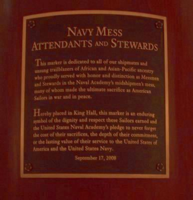 """Navy Mess Attendants and Stewards"" Marker </b>(in the mess hall at the U.S. Naval Academy) image. Click for full size."