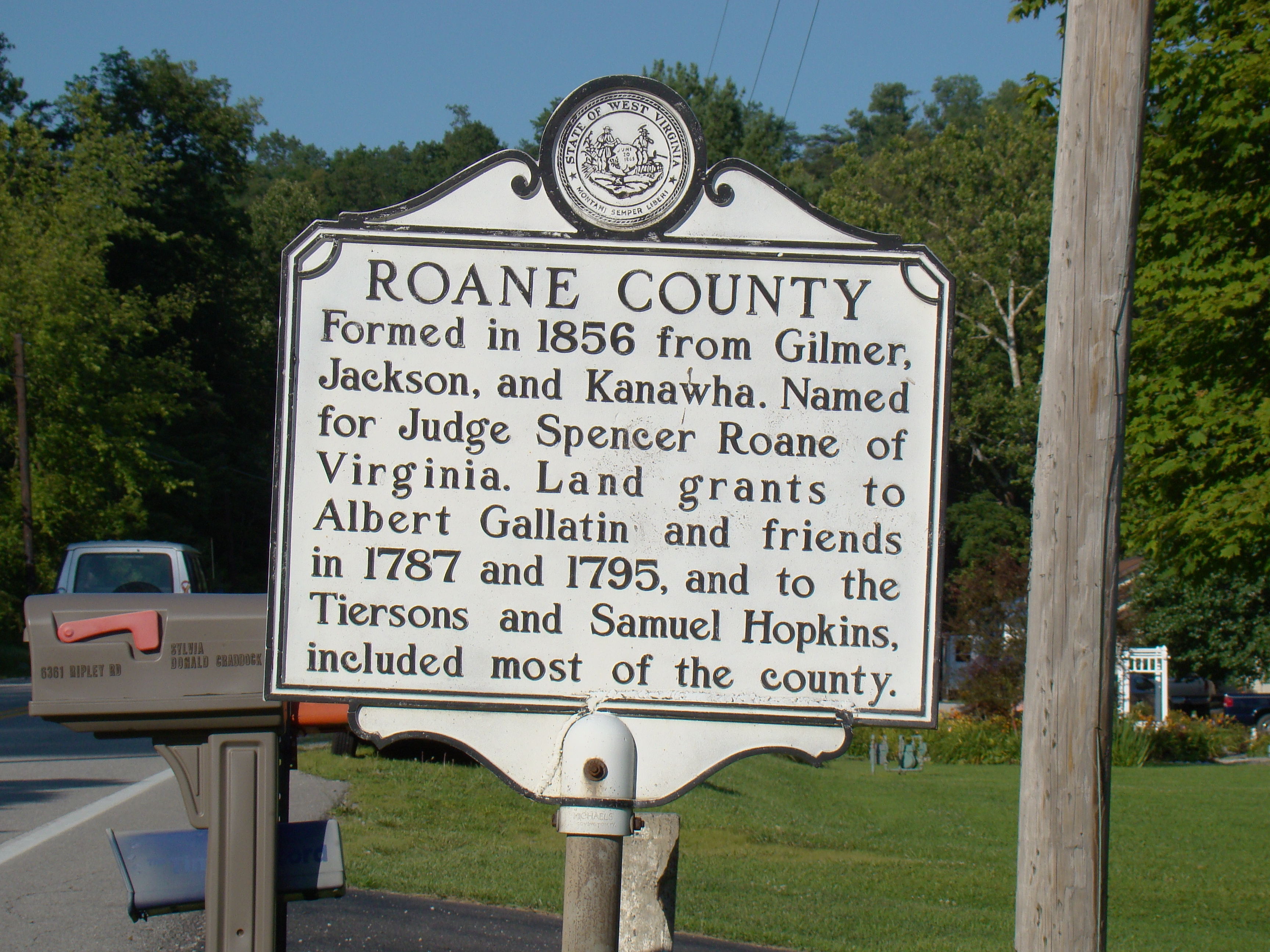 Roane County face of Marker