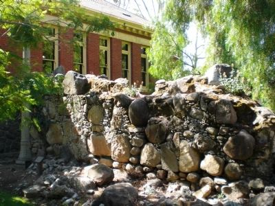 Remains of wall of Mission San Luis Obispo on Library Grounds, ca. 1793 image. Click for full size.