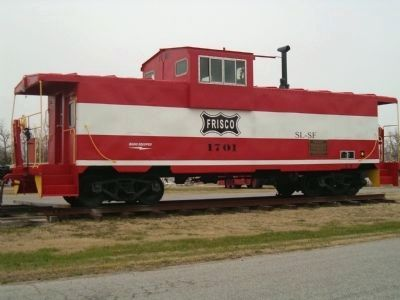 Frisco Caboose and Three-Way Interlocking Crossing Marker image. Click for full size.