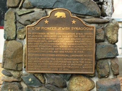 Site of Pioneer Jewish Synagogue Marker image. Click for full size.