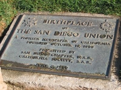 Birthplace of The San Diego Union Marker image. Click for full size.