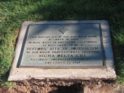 Birthplace of The San Diego Union Sigma Delta Chi Marker image. Click for full size.