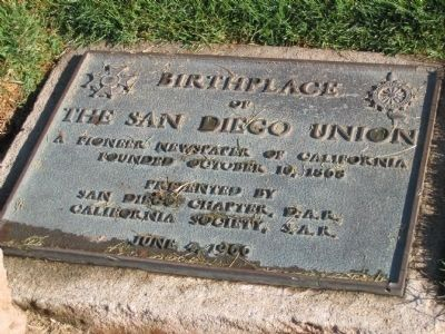 Birthplace of The San Diego Union D.A.R - S.A.R Marker image. Click for full size.