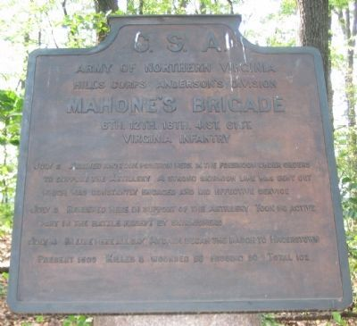 Mahone's Brigade Tablet image. Click for full size.