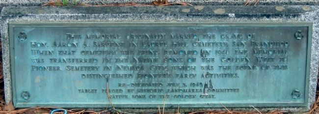 Smaller Marker on Aaron A. Sargent Monument image. Click for full size.