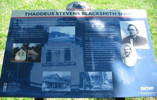 Thaddeus Stevens Blacksmith Shop Marker image. Click for full size.