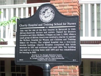 Charity Hospital and Training School for Nurses Marker image. Click for full size.