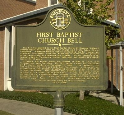 First Baptist Church Bell Marker image. Click for full size.
