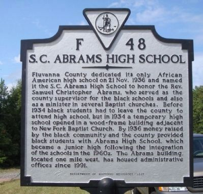 S. C. Abrams High School Marker image. Click for full size.