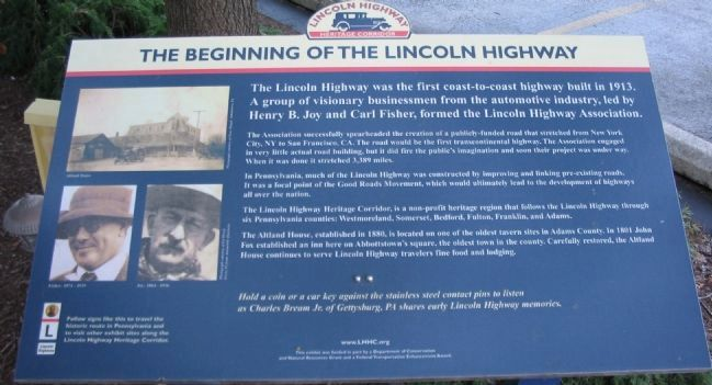 The Beginning of the Lincoln Highway Marker image. Click for full size.