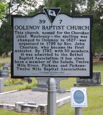 Oolenoy Baptist Church Marker - Front image. Click for full size.