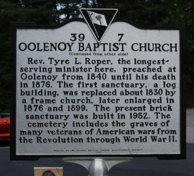 Oolenoy Baptist Church Marker - Reverse image. Click for full size.