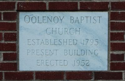 Oolenoy Baptist Church - Cornerstone image. Click for full size.
