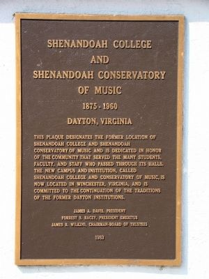Shenandoah College and Shenandoah Conservatory of Music Marker image. Click for full size.