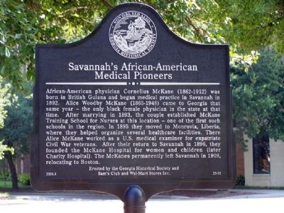 Savannah's African-American Medical Pioneers Marker image. Click for full size.